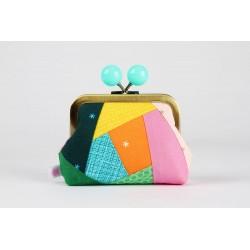 Porte monnaie (taille M,Color dad patchwork ,boules colorées)
